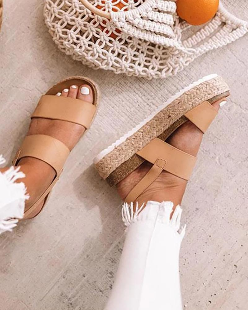 Peep Toe Espadrille Platform Sandals