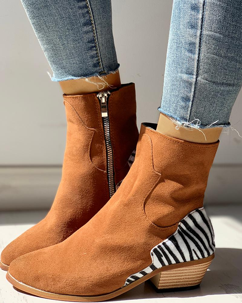 Pointed Toe Zipper Zebra Print Chunky Heeled Boots