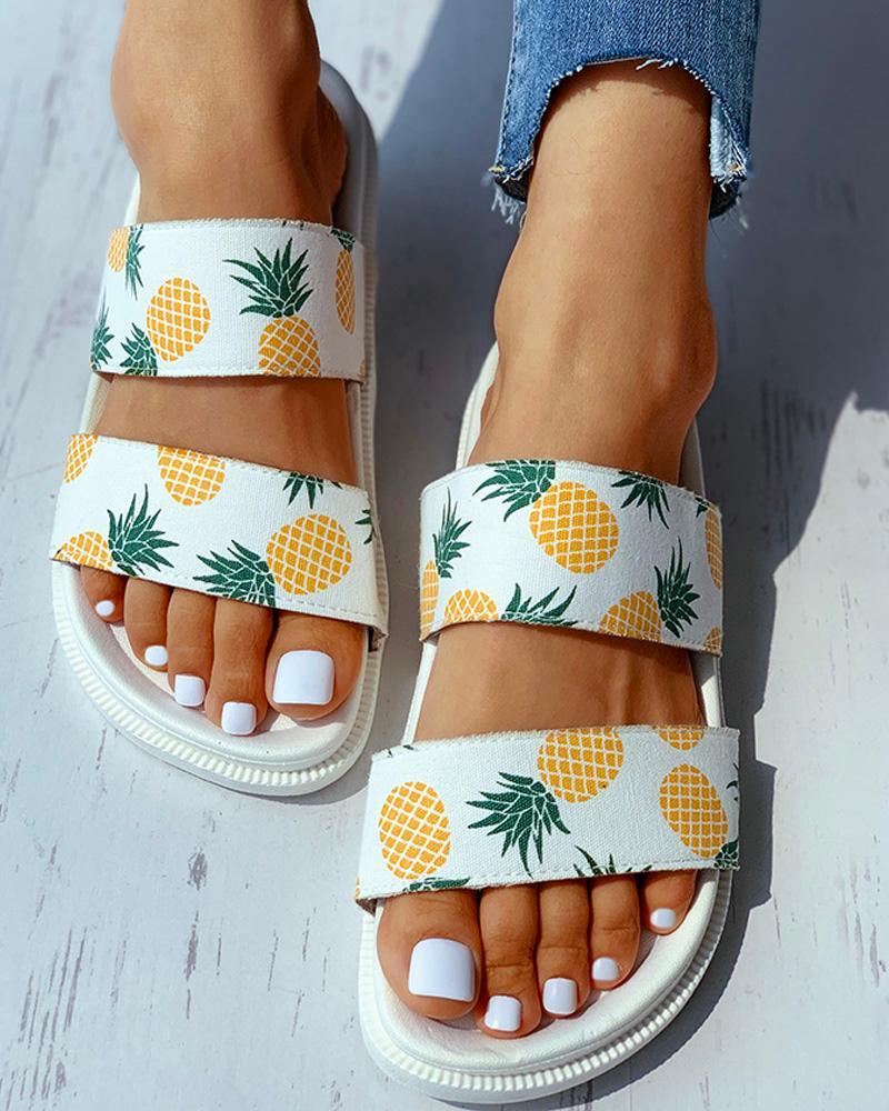 Open Toe Pineapple Pattern Flat Sandals фото