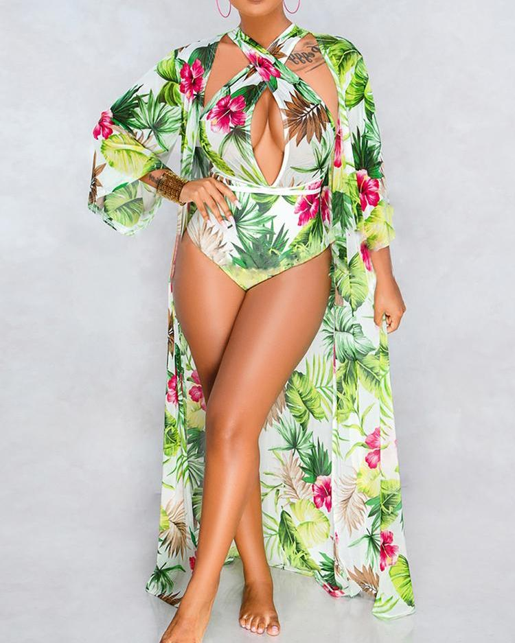 Tropical Print One Piece Swimwear With Cover Up