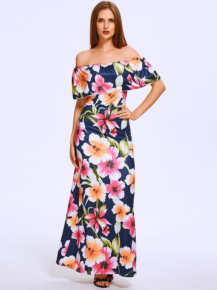 chicme / Summer Slash Neck Off Shoulder Lotus Leaf Floral Maxi Chiff Dress