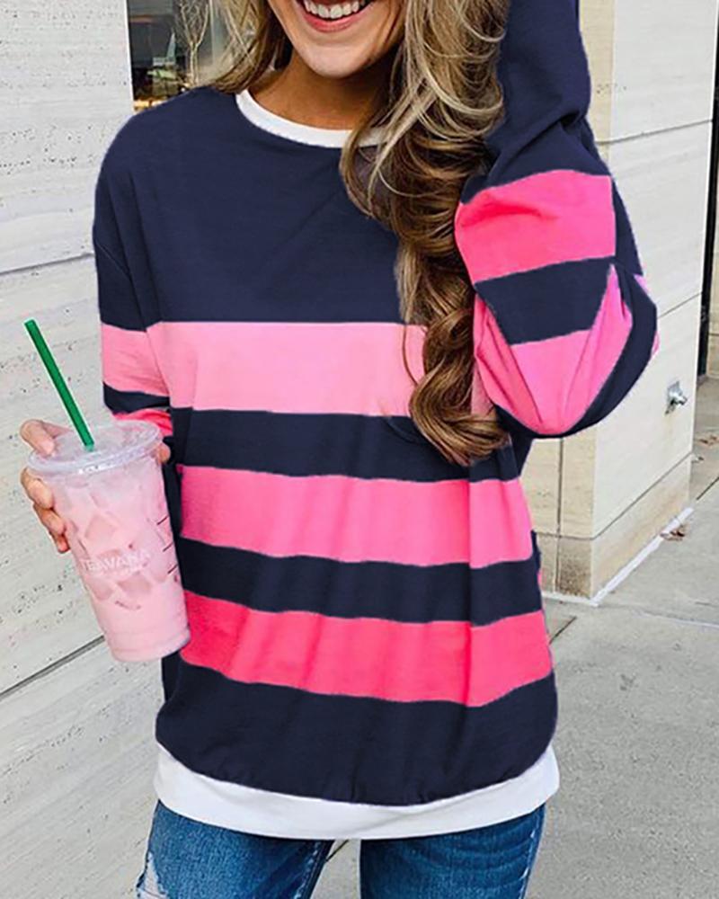 chicme / Striped Colorblock Round Neck Long Sleeve Sweatshirt