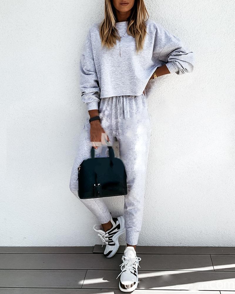 Long Sleeve Casual Top & Drawstring Pants Set фото