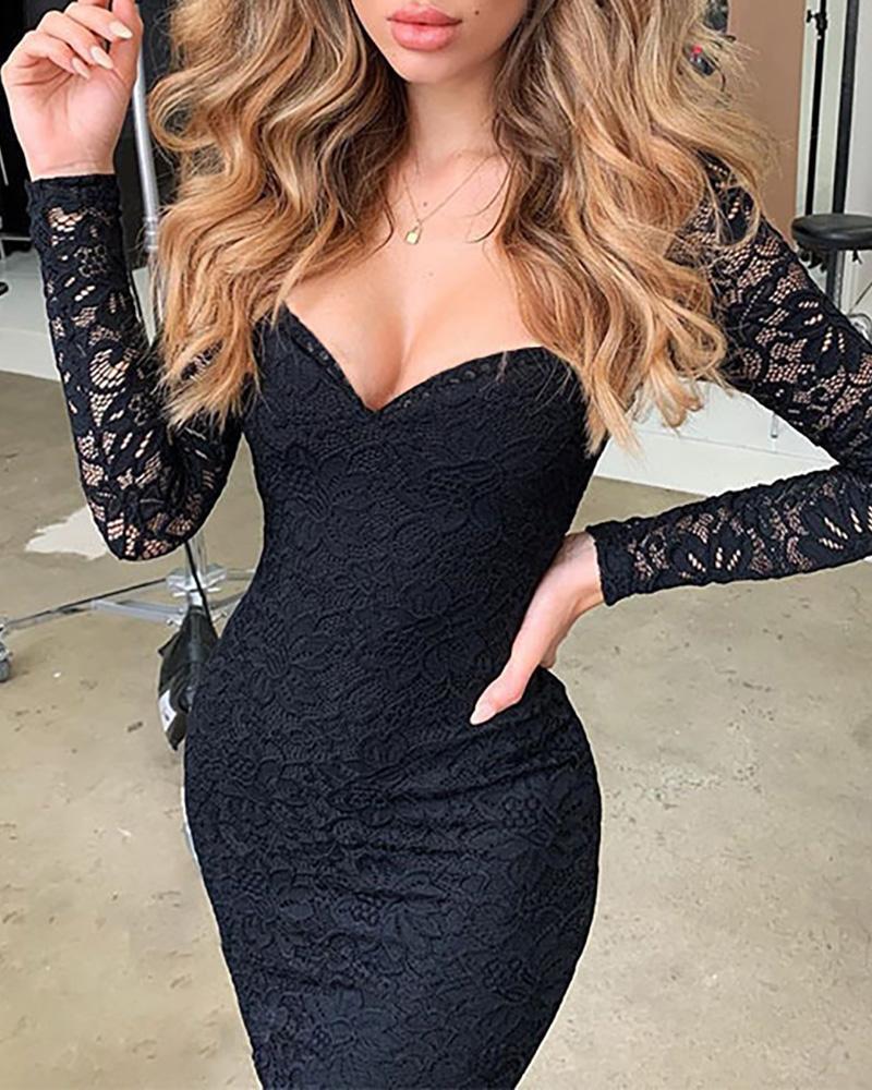 Lace V Neck Long Sleeve Bodycon Dress фото