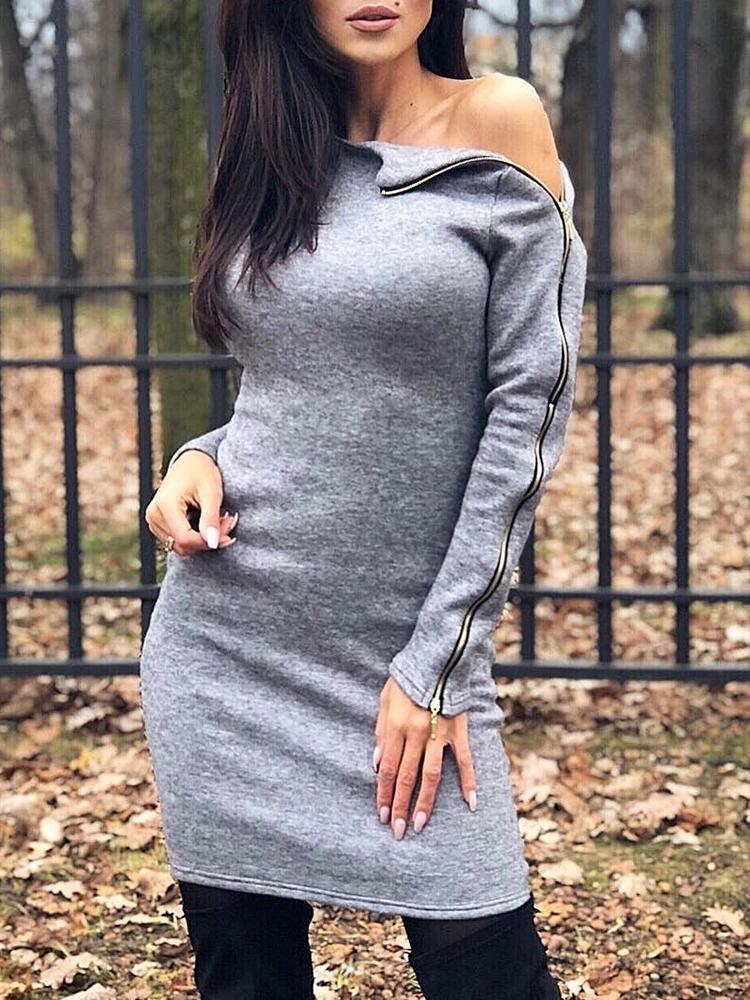 Skew Neck Zipper Design Sweatshirt Dress