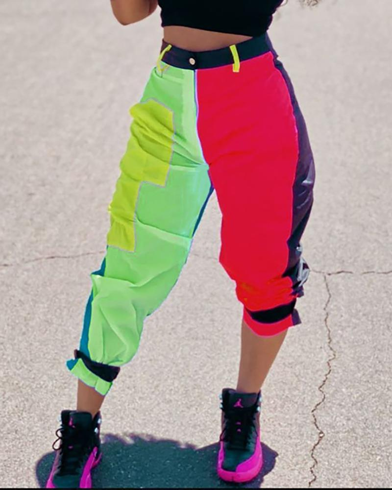 Colorblock Tie Detail Cargo Cropped Pants фото