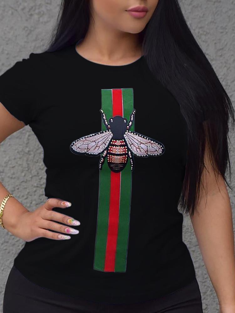Fashion Striped&Bee Print Casual T-shirt