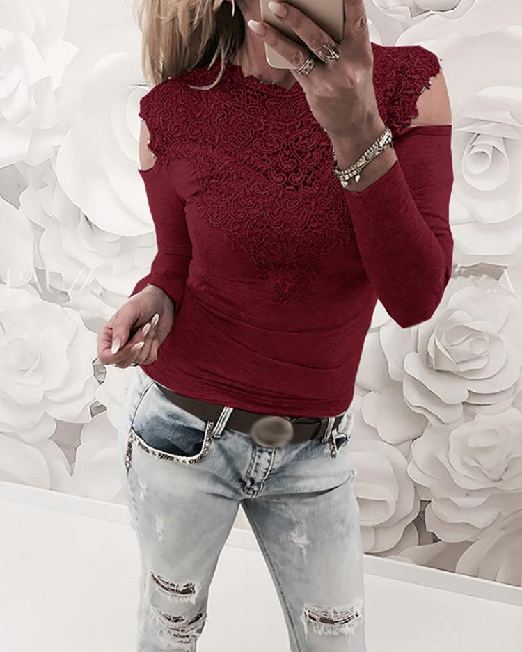 Appliqued Lace Cold Shoulder Blouse, Wine red
