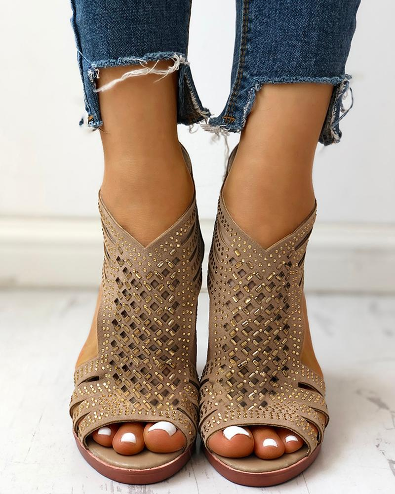 Studded Hollow Out Chunky Sandals фото