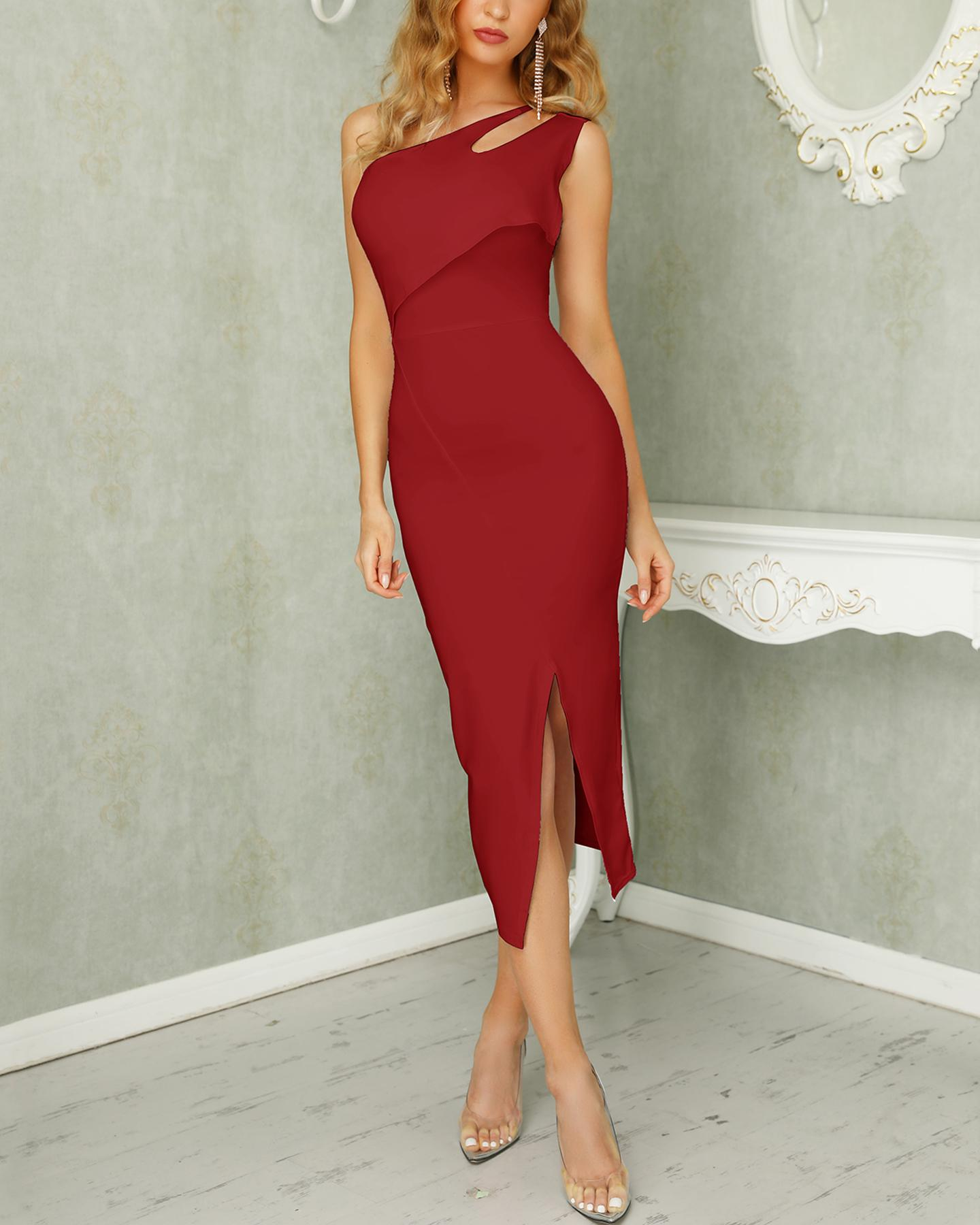 One Shoulder Slit Bodycon Dress фото