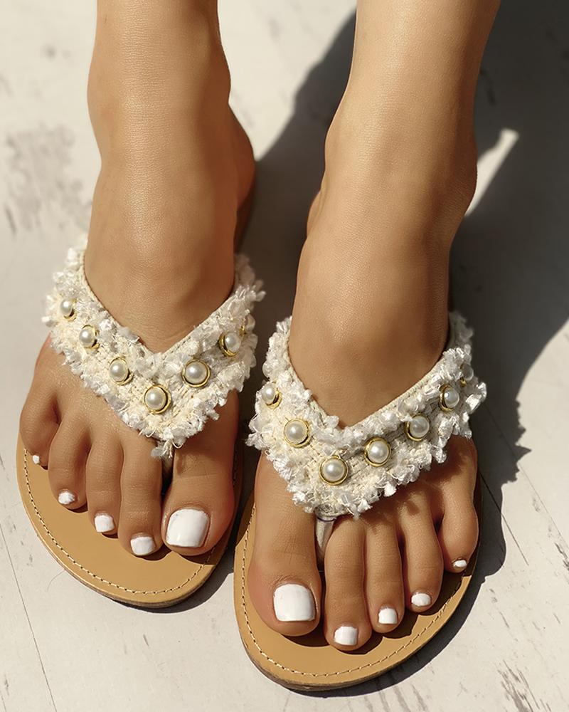 chicme / Beaded Design Casual Flat Sandals