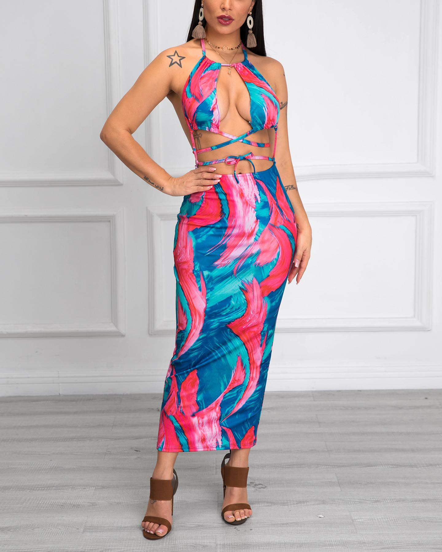 Open Back Halter Tie Dye Dress фото