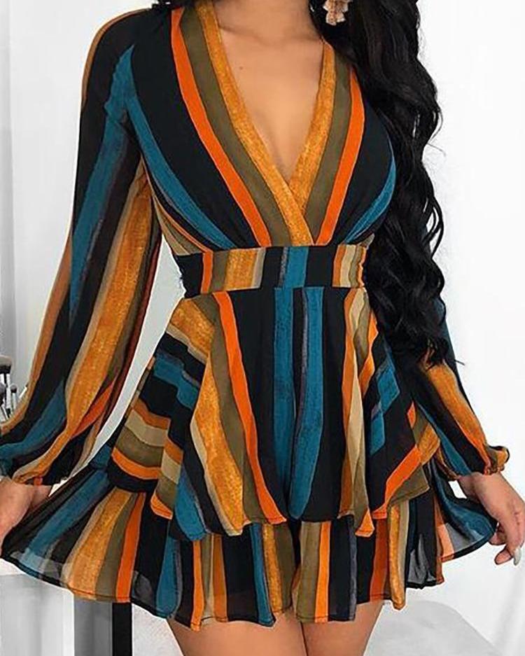 Multi Color Stripes Layered Ruffles Mini Dress