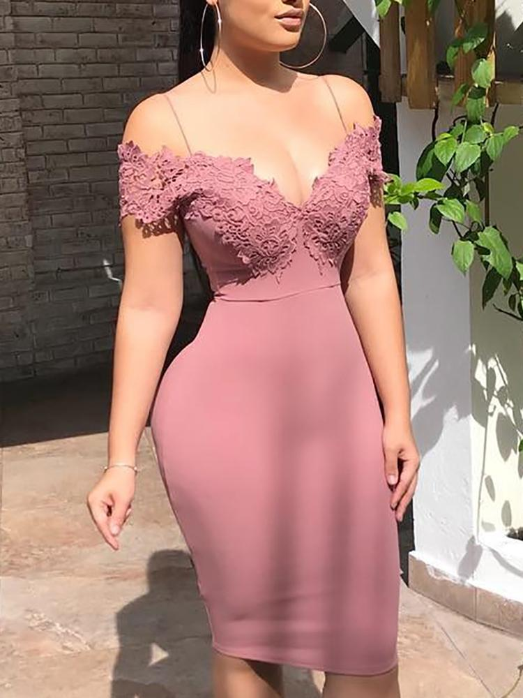 Crochet Lace Insert Spaghetti Strap Midi Dress