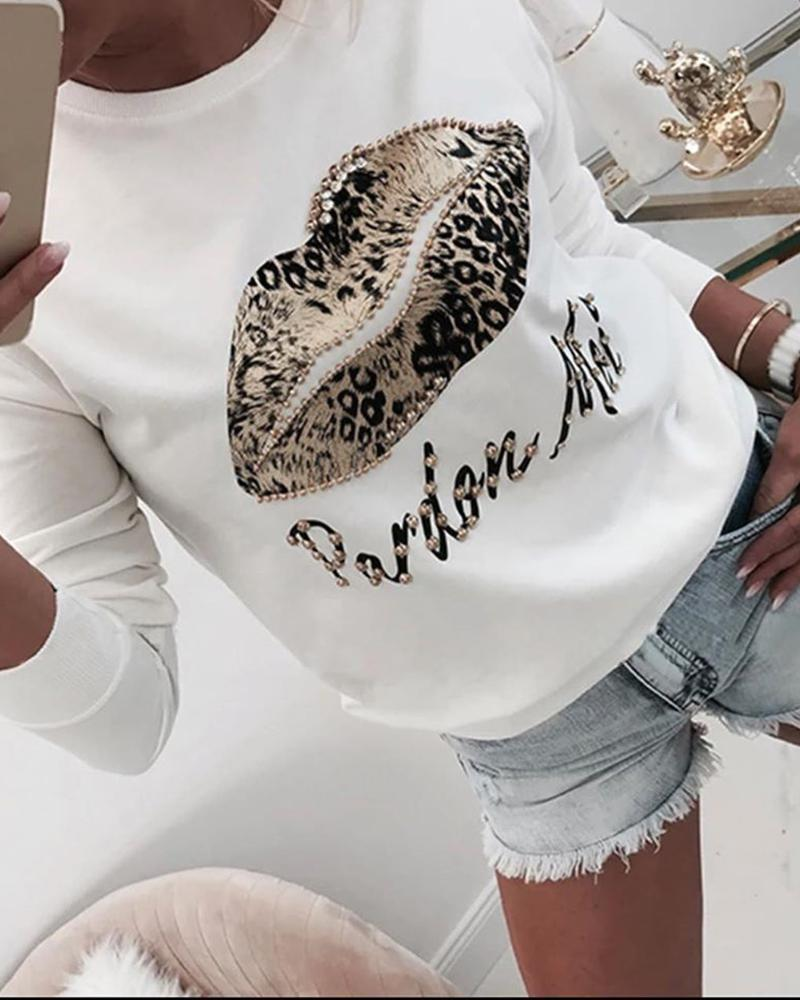 ivrose / Blusa de manga larga con estampado de leopardo de boca