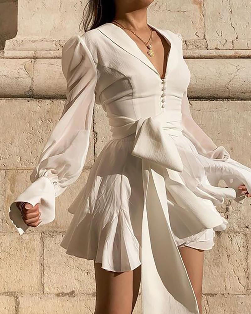 Solid Long Sleeve Ruffles Casual Dress фото