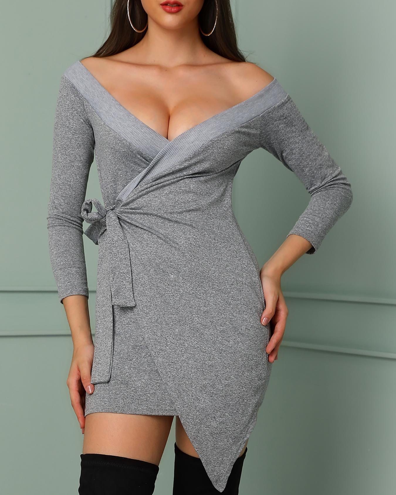 boutiquefeel / Fora do ombro amarrado cintura bodycon wrap dress