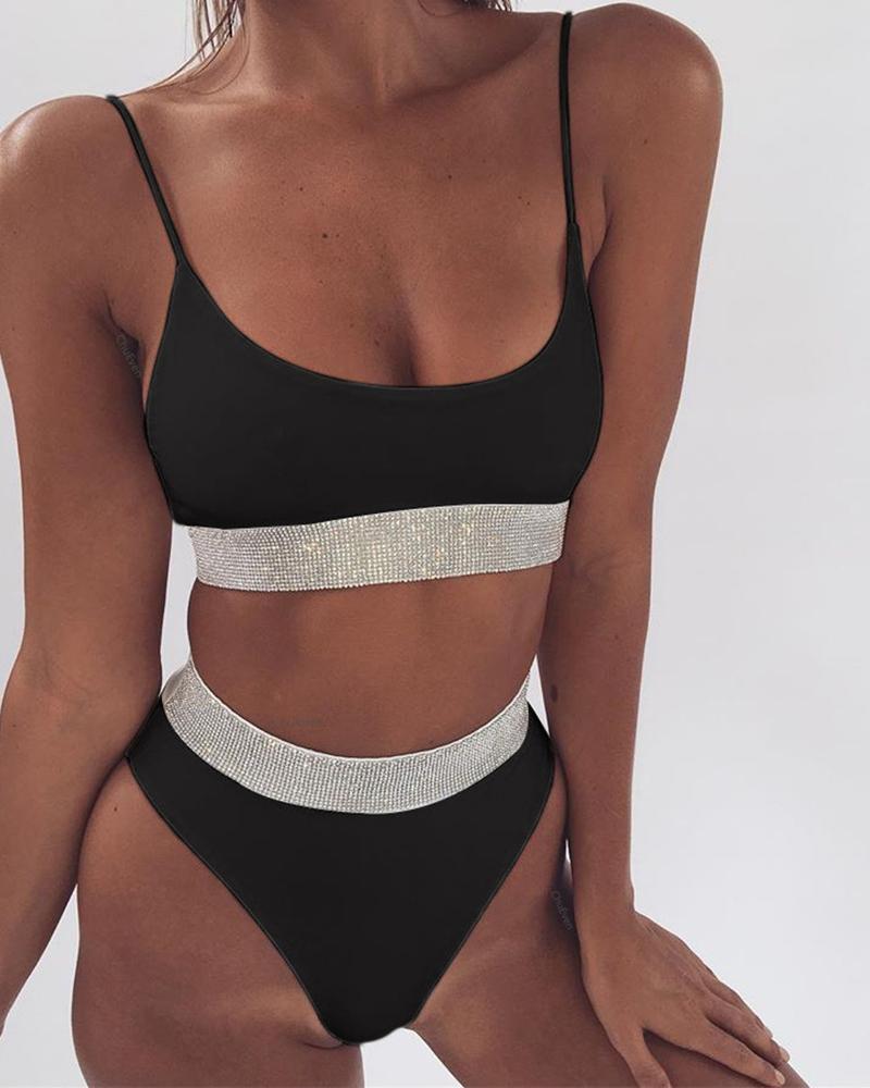 Colorblock Spaghetti Strap Bikini Sets фото