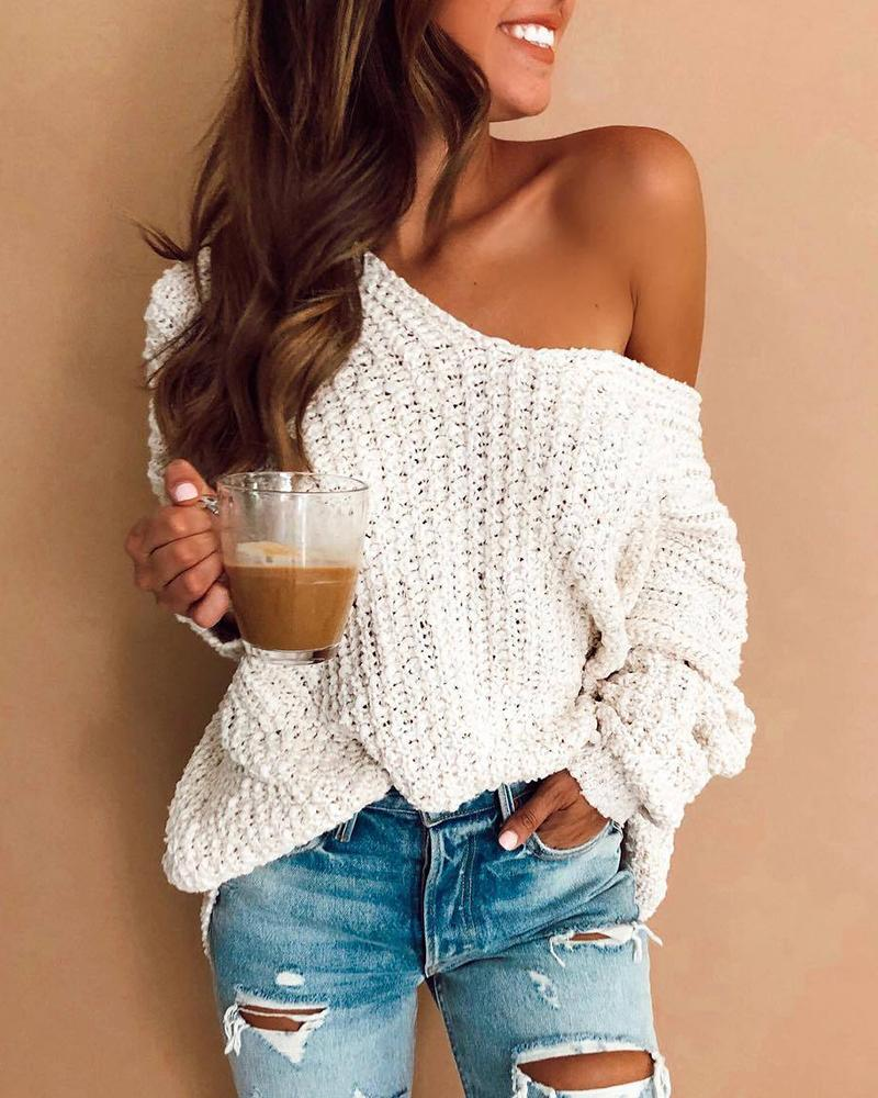 Solid V-Neck Long Sleeve Knitting Sweater фото