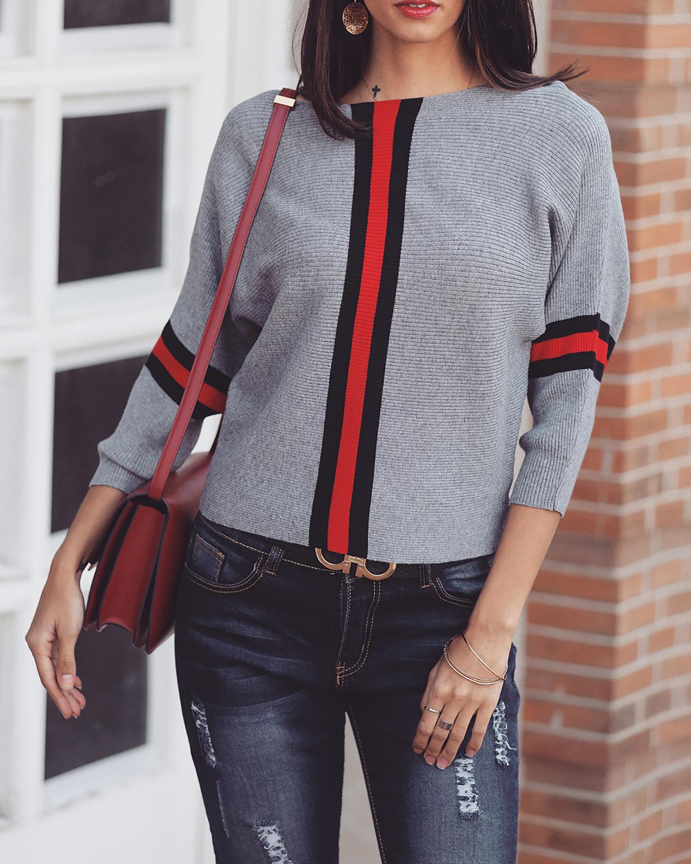 Contrast Color Striped Splicing Sweater фото