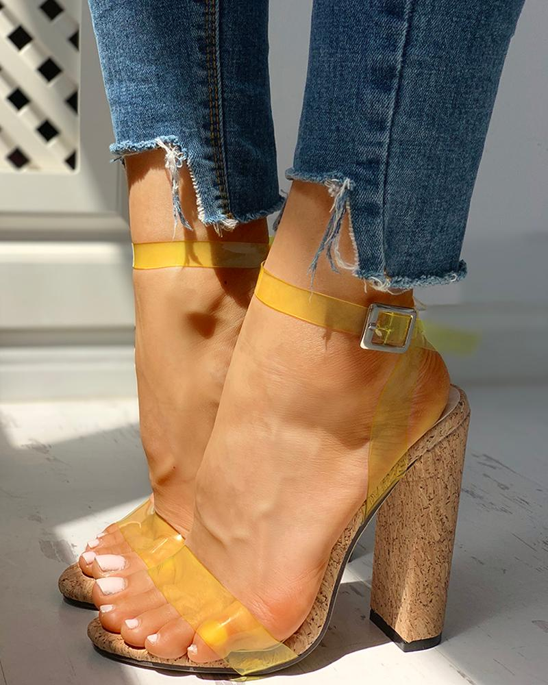 Open Toe Transparent Strap Chunky Heeled Sandals фото