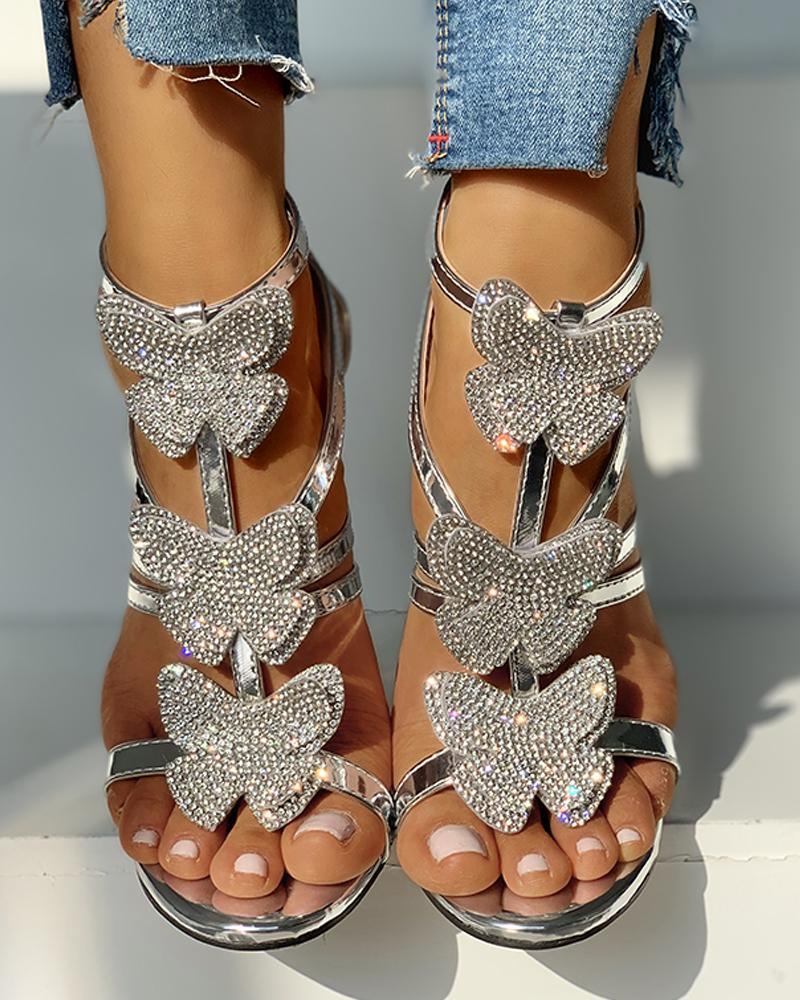 Butterfly Studded Strap Buckled Thin Heels фото