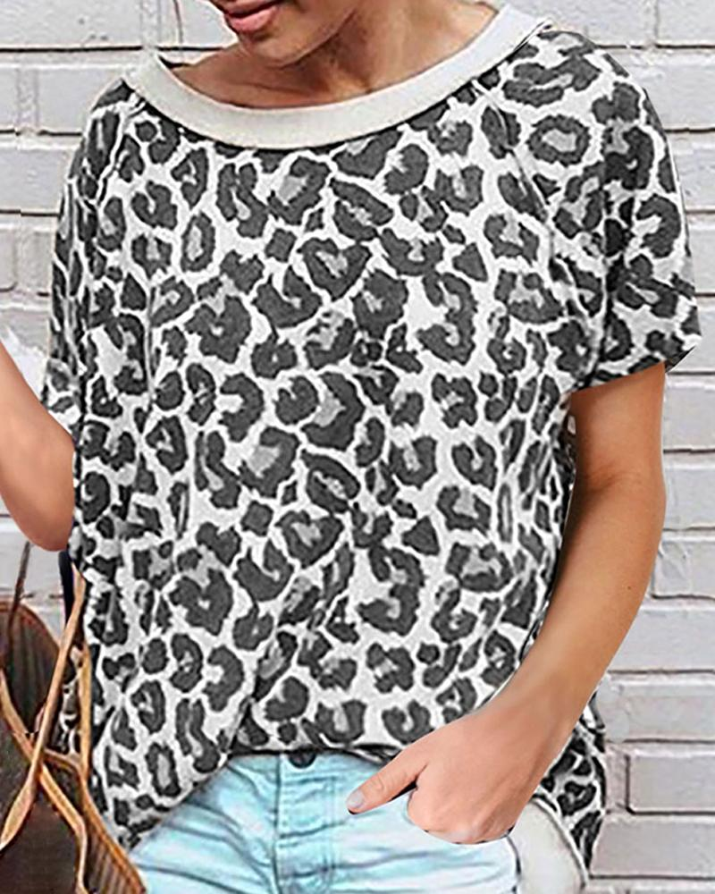 Round-neck Print Short Sleeve T-shirt фото