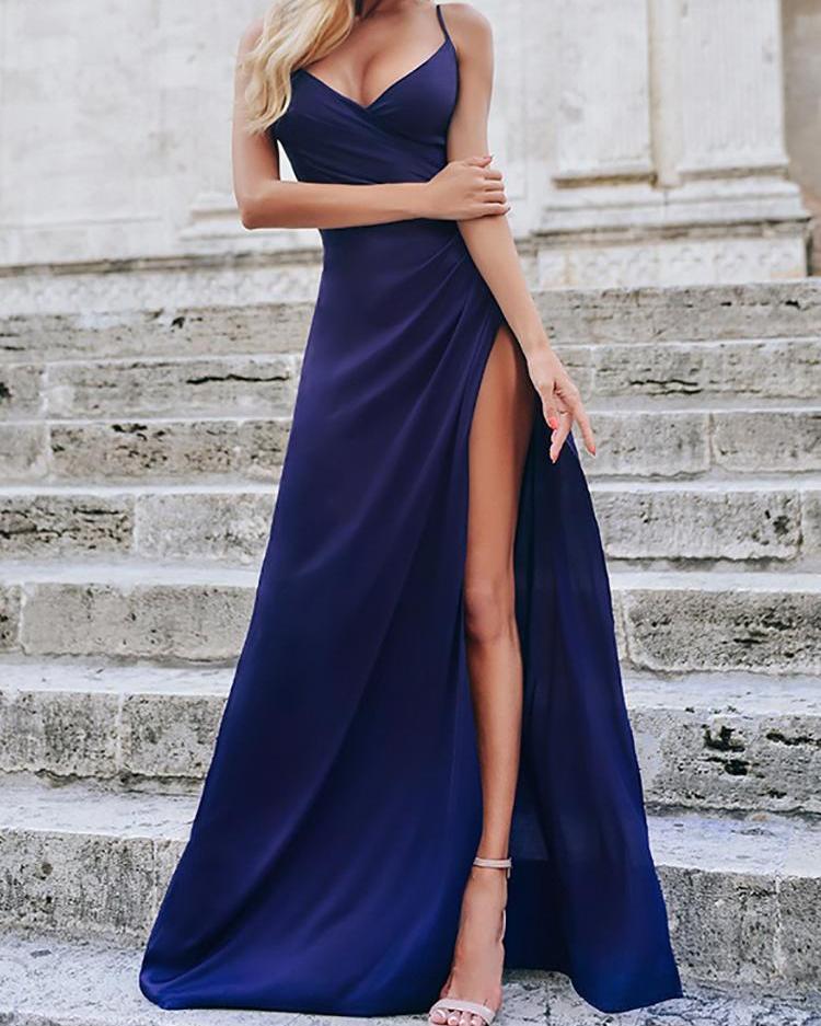 boutiquefeel / Correas espaguetis con frunces en el muslo vestido de noche