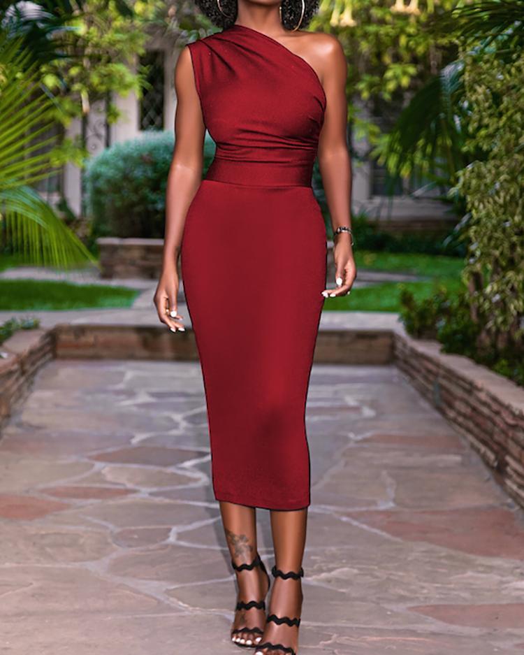 Solid One Shoulder Sheath Midi Dress