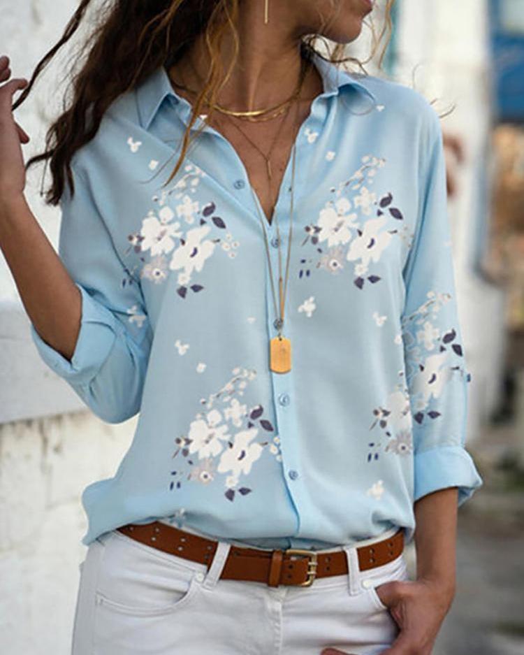 Floral Print Long Sleeve Casual Shirt, Blue