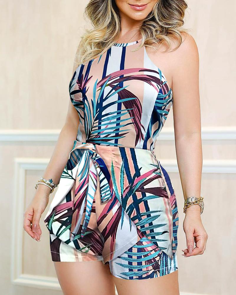 Tropical Print Knotted Waist Romper от ChicMe WW