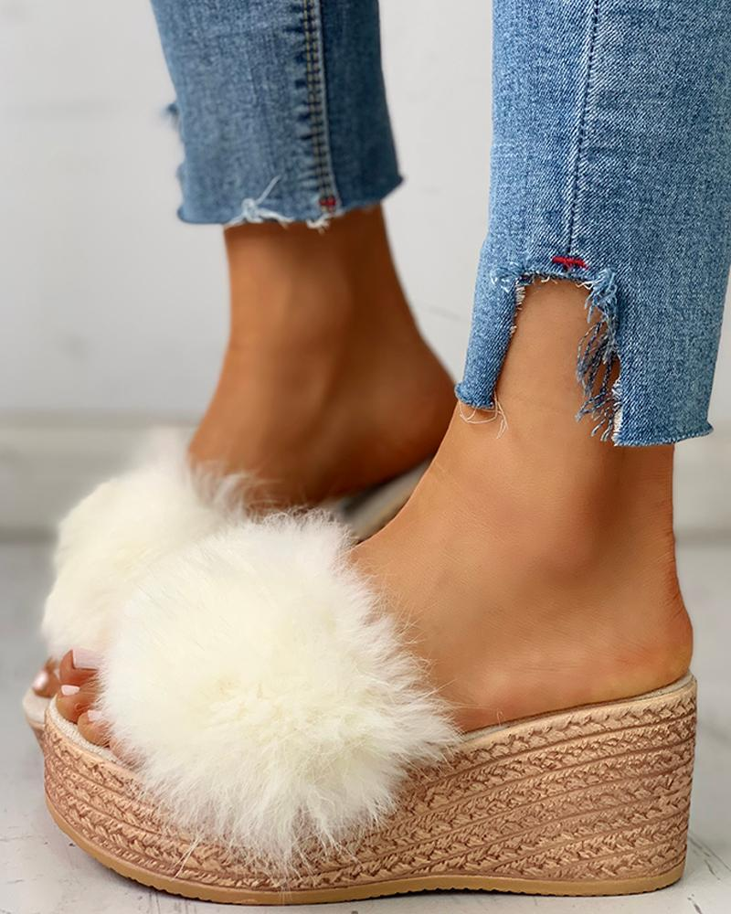 Fluffy Platform Wedge Heeled Sandals фото