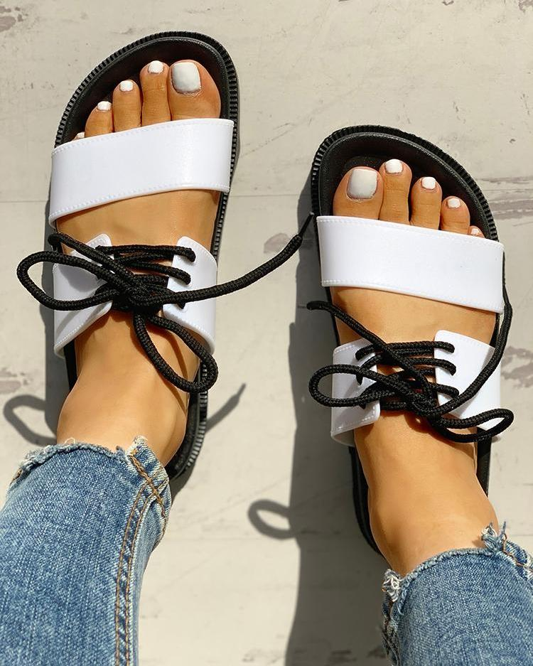 Lace-Up Double Strap Open Toe Flat Sandals фото