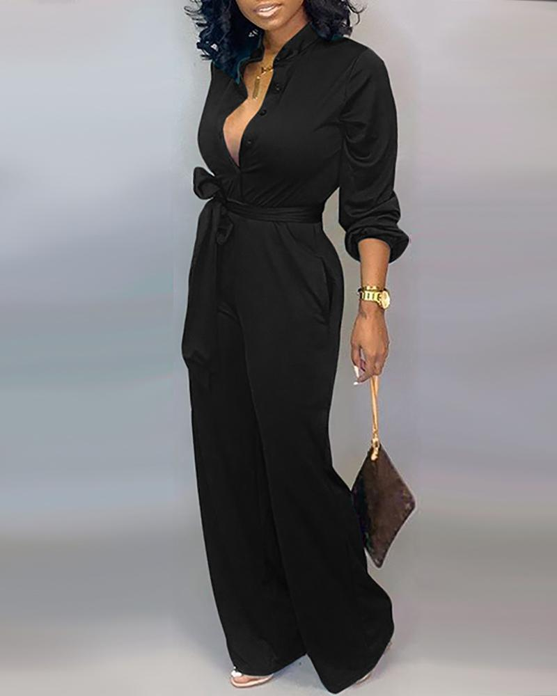Solid Buttoned Pocket Cargo Jumpsuit фото