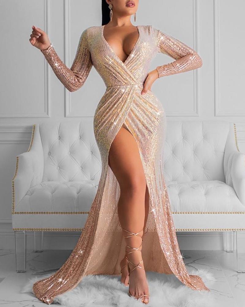 chicme / Vestido de lentejuelas fruncidas con aberturas altas