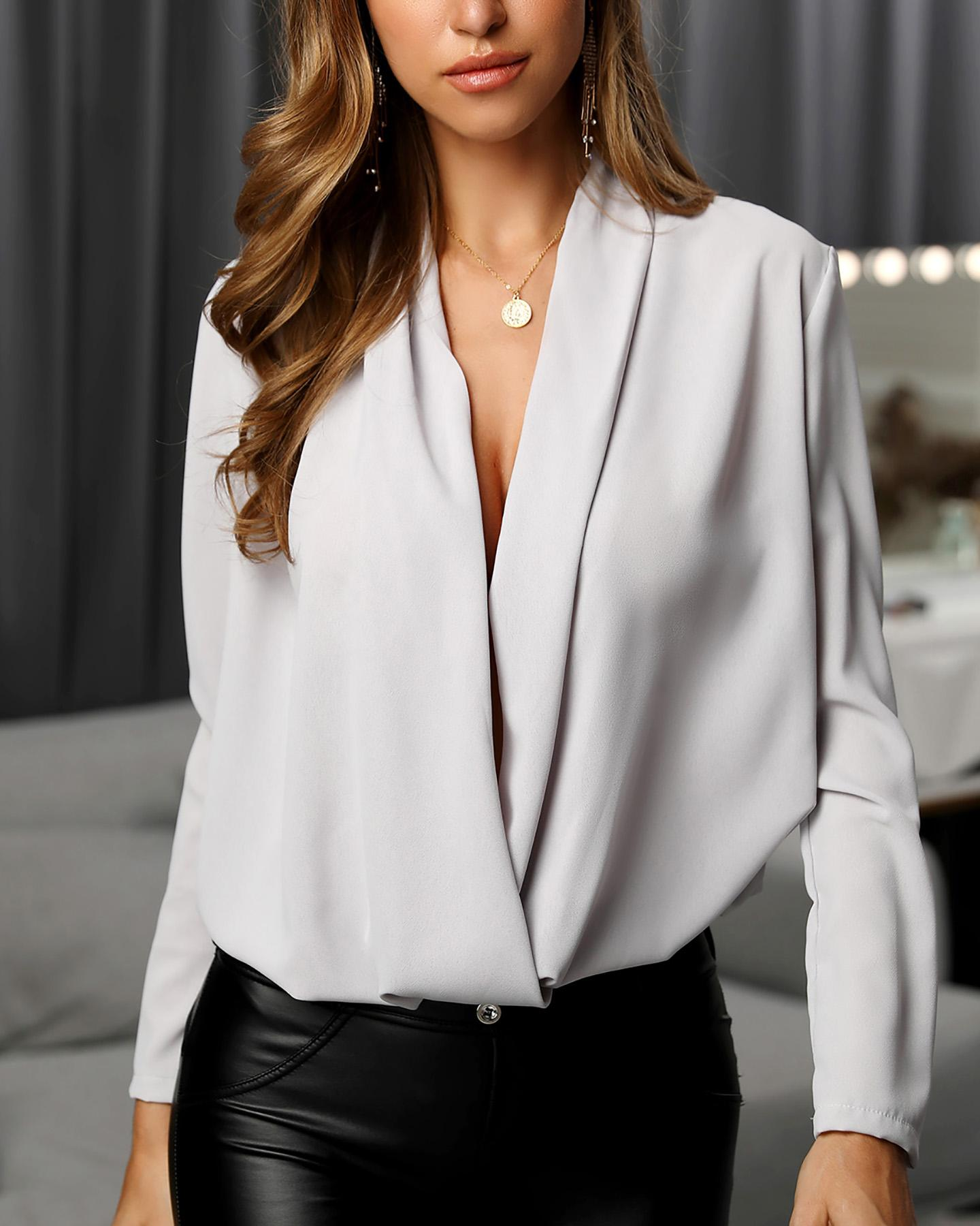 Solid Cowl Neck Long Sleeve Ruched Casual Blouse фото