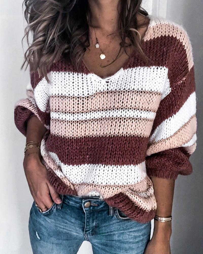 Colorblock Striped V-neck Loose Sweater фото