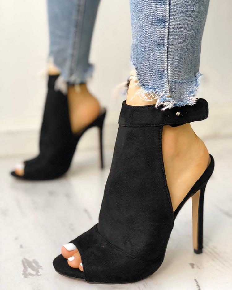 Solid Peep Toe Slingbacks Thin Heeled Sandals