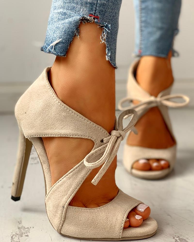 ivrose / Suede Peep Toe Cutout Thin Heels