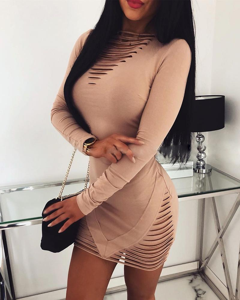 Solid Ladder Cut Out Bodycon Dress