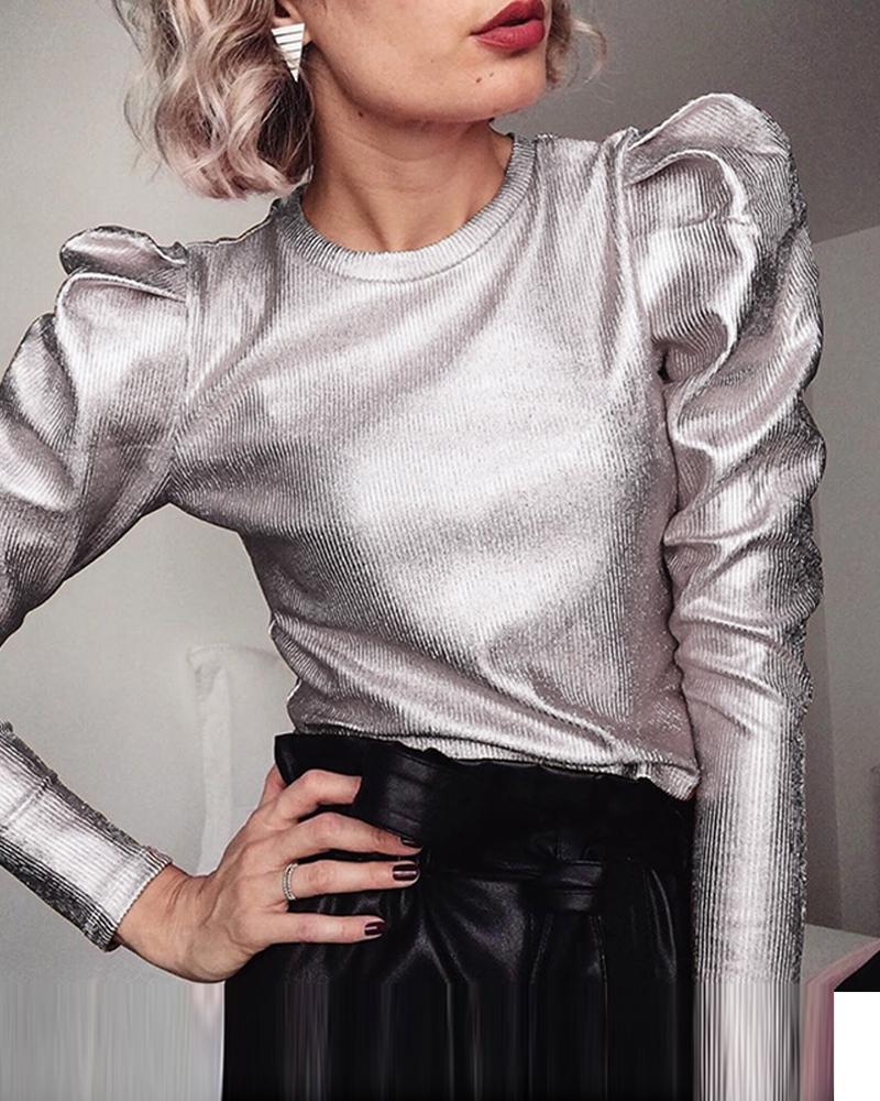 Metallic Color Puff Sleeve Top, Silver