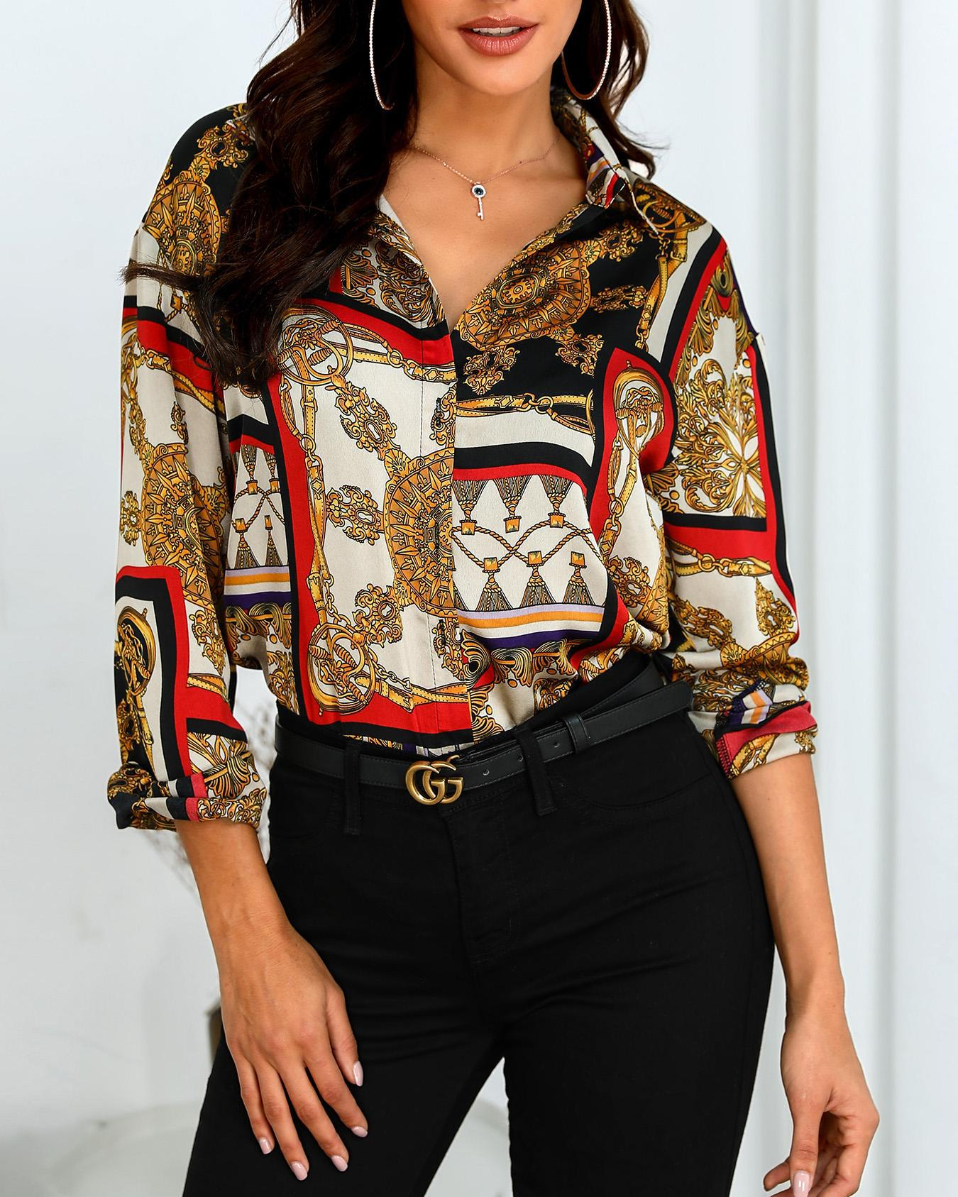 ivrose / Scarf Print Long Sleeve Casual Shirt