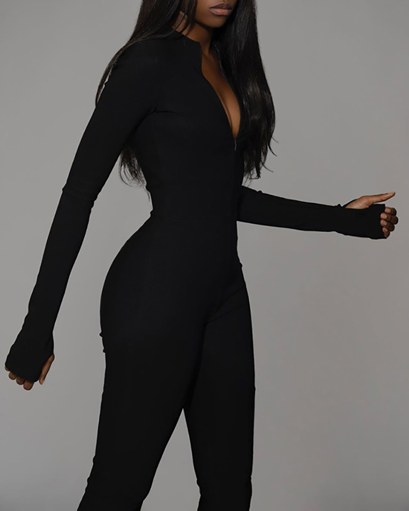 High Waist Zipper Design Jumpsuit фото