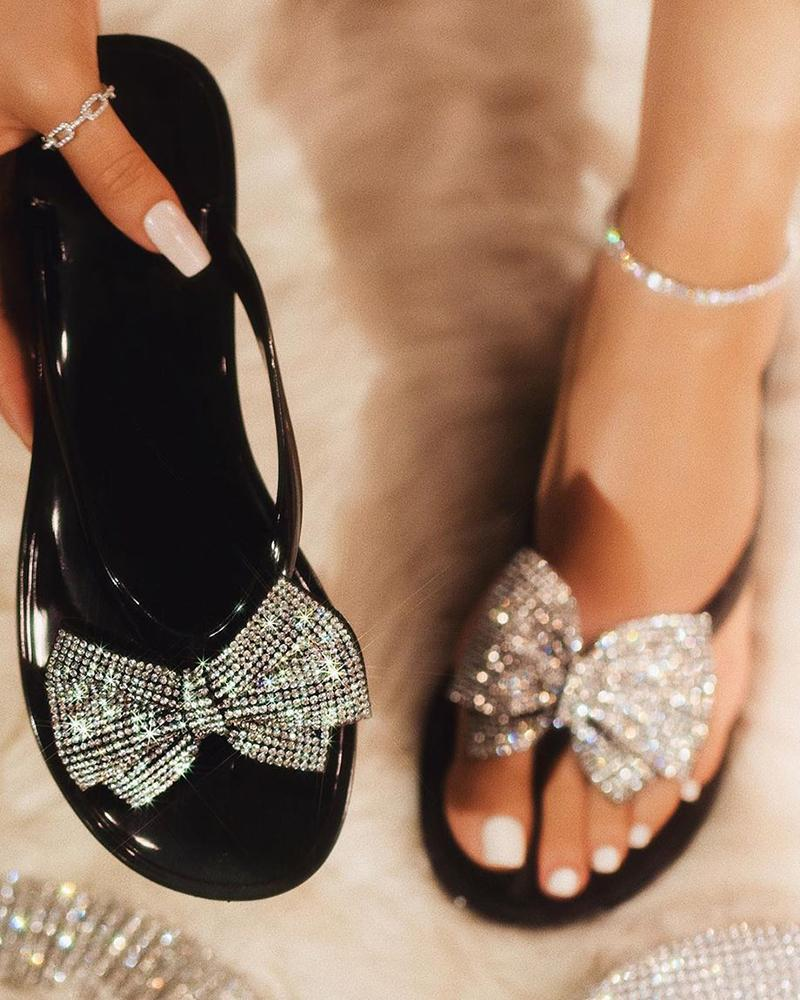 Studded Bowknot Design Open Toe Sandals chicme