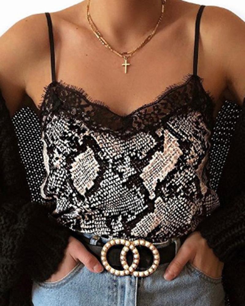 boutiquefeel / Top com estampa de cobra e estampa de leopardo