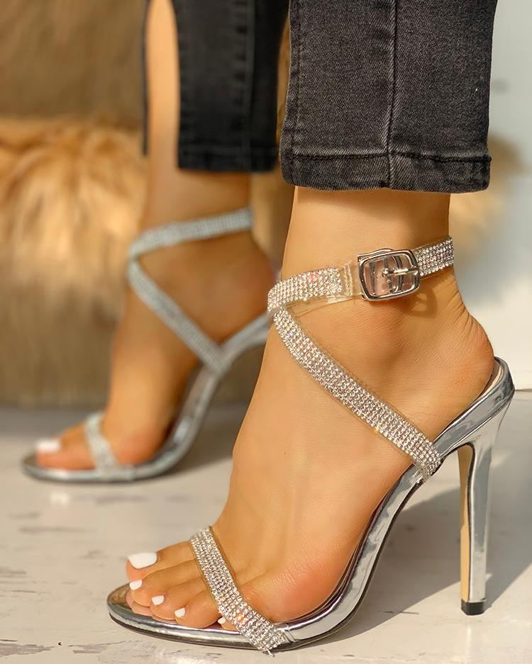 Gem-Studded Open Toe Ankle Buckled Heels фото