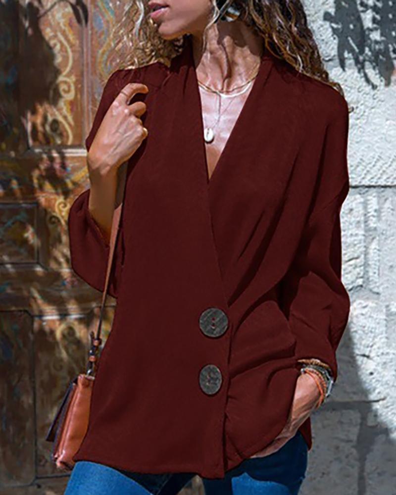 boutiquefeel / Blusa com estampa abotoada e decote em V