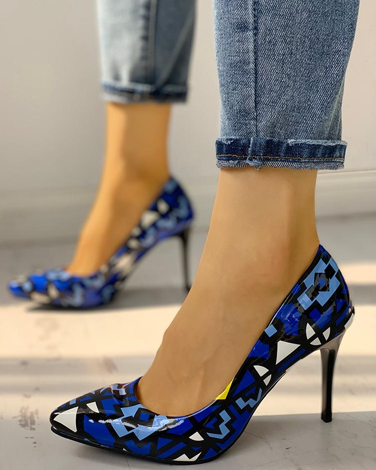 chicme / Printed Pointed Toe Thin Heels