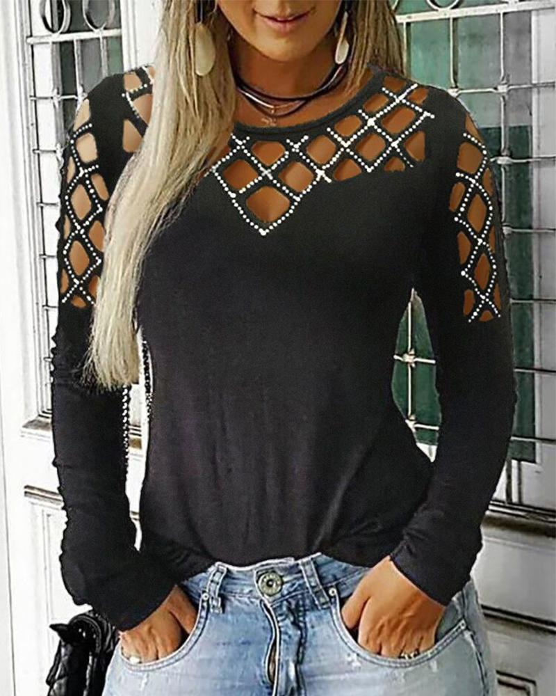 Studded Hollow Out Long Sleeve Top, Dark grey