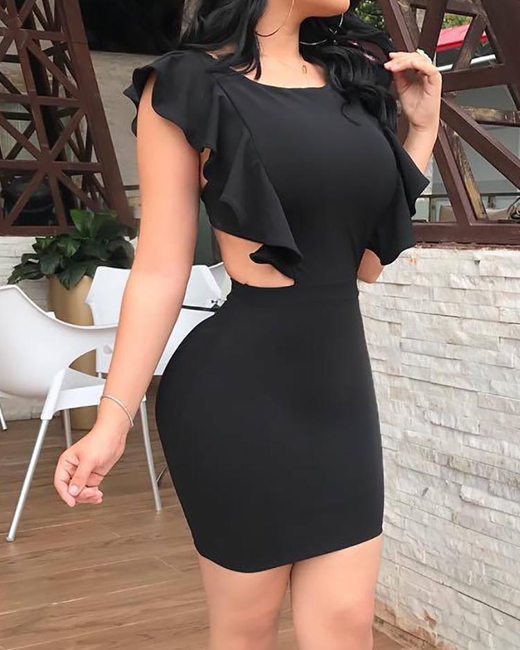 chicme / Solid Cutout Back Ruffles Design Bodycon Dress